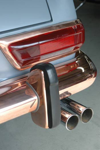 copper plated trim awaits chrome